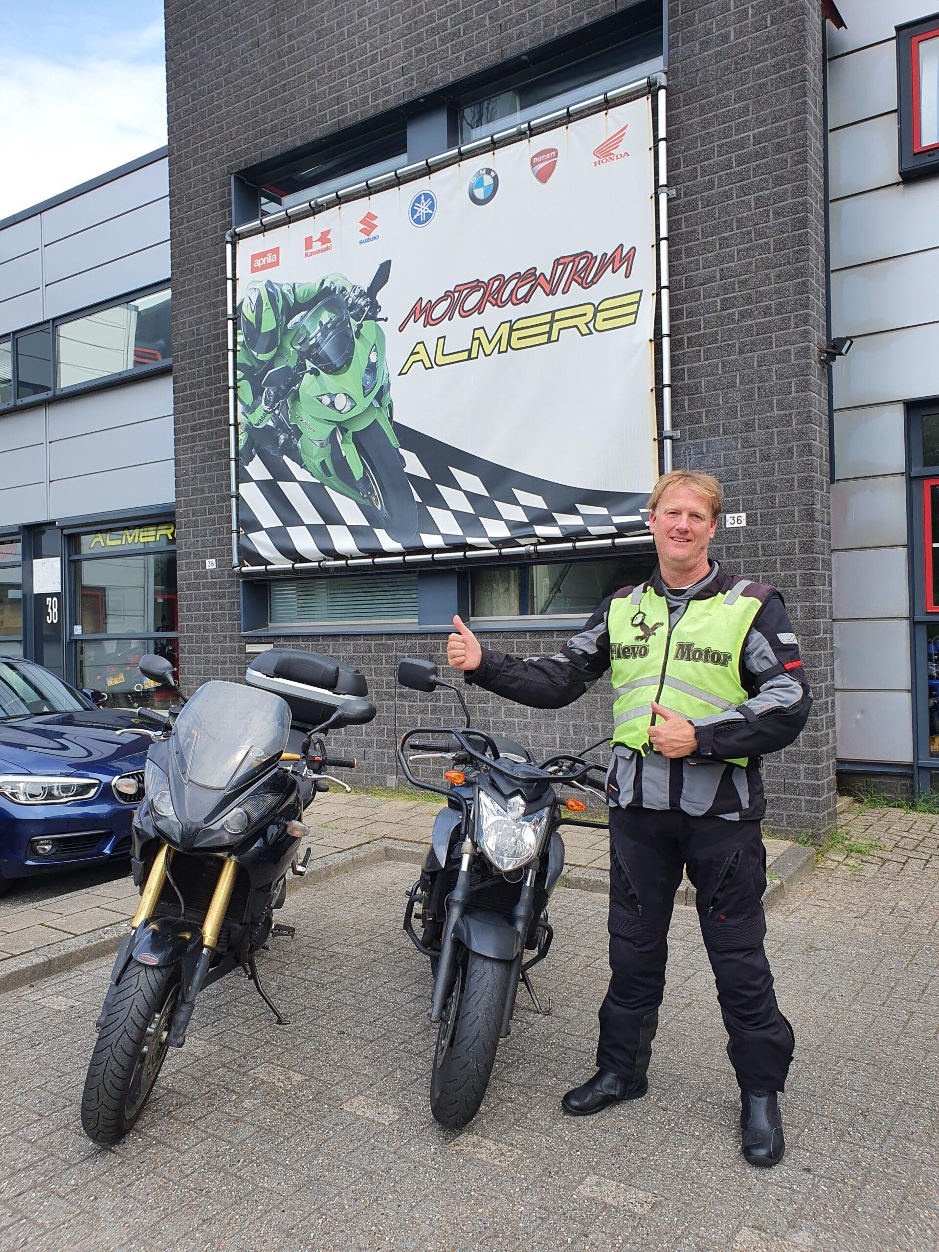 Erick ook bij FlevoMotor in een keer geslaagd voor zijn motorrijbewijs.